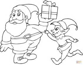 Santa and elf coloring page free printable coloring pages