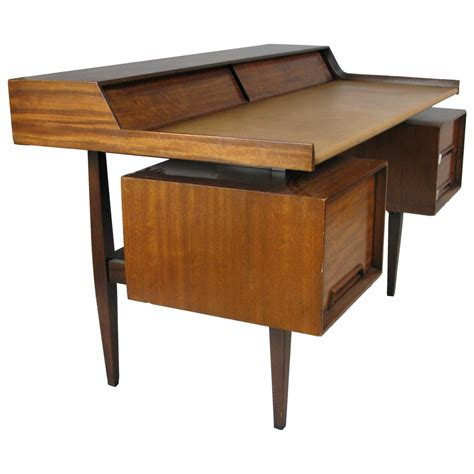 modern writing desks vintage 1950s modern walnut and leather writing desk at