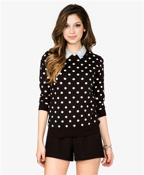 Dress Cardigan Polkadot forever 21 polka dot sweater in black black ivory lyst