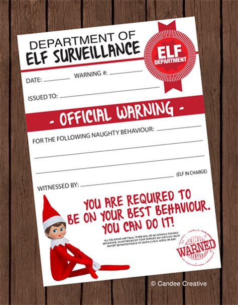 printable elf on the shelf warning letter elf on the shelf official warning printable design