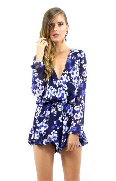 Preorder Romper Bayi Import High Quality 1 pretty playsuit longsleeve blue floral missholly