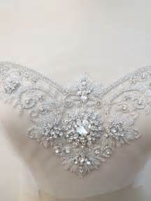 crystal rhinestone applique for sweetheart neckline by