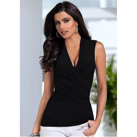 kaos slim wanita sleeveless top size l t shirt black jakartanotebook