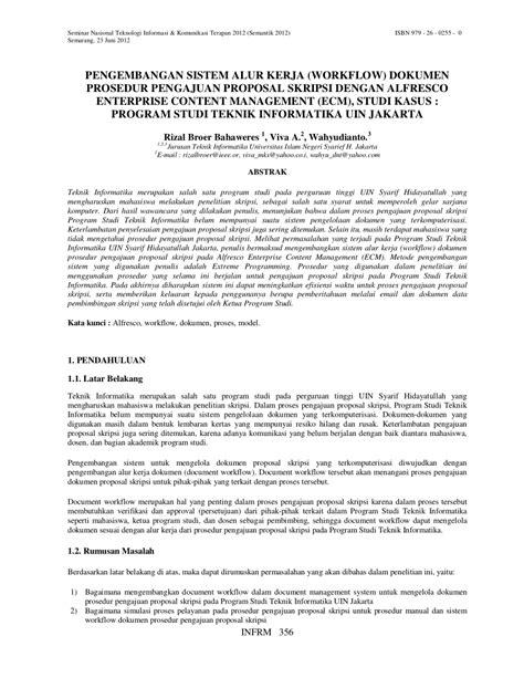 format proposal pengajuan judul skripsi pengembangan sistem alur kerja workflow dokumen prosedur