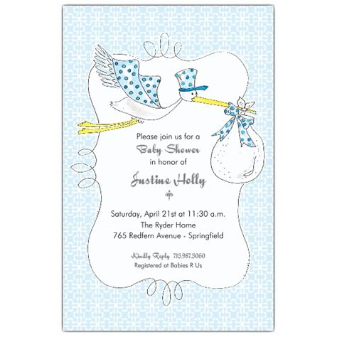 blue stork boy baby shower invitations paperstyle