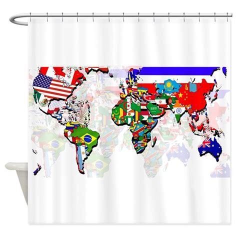 world map shower curtain canada world flags map shower curtain by culturegraphics