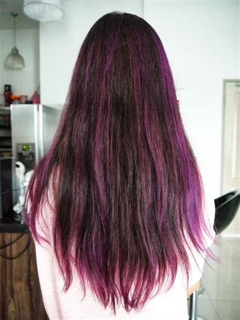 purple shoo for purple highlights purple and red highlights on black hair hairs picture