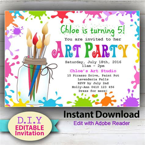 free printable art birthday invitations editable printable art party invitation children s