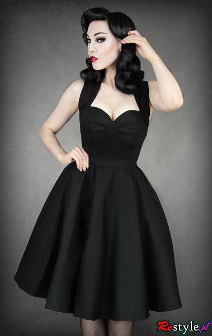 blackstyles pinup pin up 50 black dress heart neckline elegant retro
