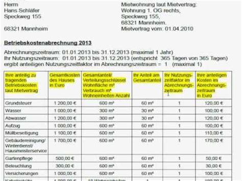 Muster Formular Nebenkostenabrechnung betriebskosten quot nebenkosten quot als vermieter korrekt