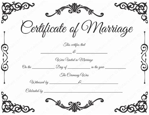marriage certificate template free blank marriage certificate format printable marriage