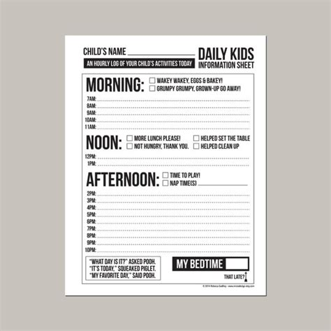 printable daily schedule babysitter daily babysitting or nanny report printable pdf sheet