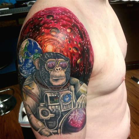 monkey tattoos outer space headless custom tattoos shop