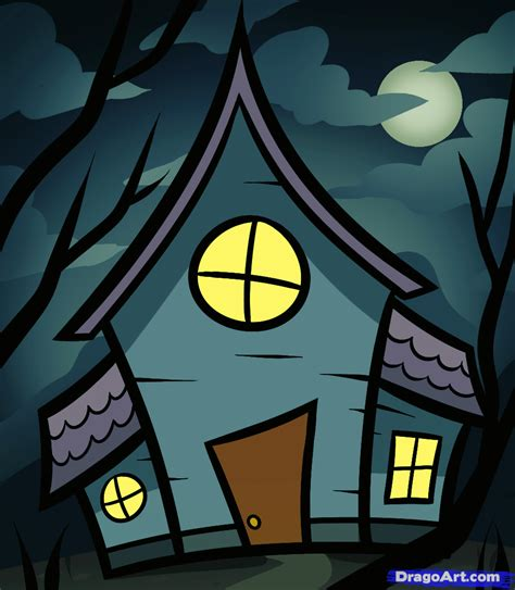 how to draw a house for kids step by step drawing how to draw a haunted house for kids step by step
