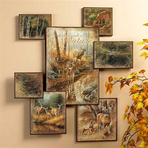 whitetail deer wall collage wall wildlife wall decor