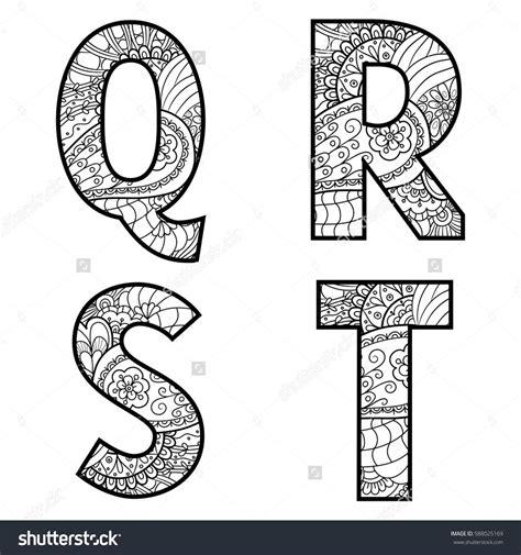 animal alphabet letters q u vector vectores en stock set of vector big letters with pattern doodle letter q r
