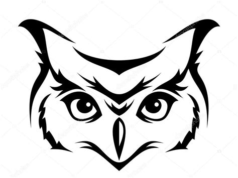 head of horned owl vector illustration stock vector