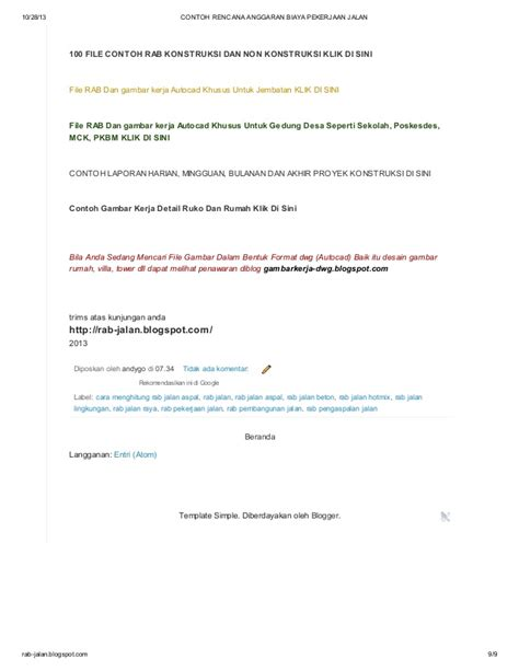 contoh rencana anggaran biaya pembangunan gedung di blog httpcontoh contoh rencana anggaran biaya pekerjaan jalan di blog
