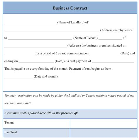 contract template for business exle of business