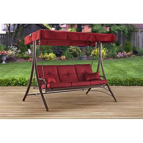 3 person outdoor swing with canopy porch swing with canopy cover red cushion patio bed