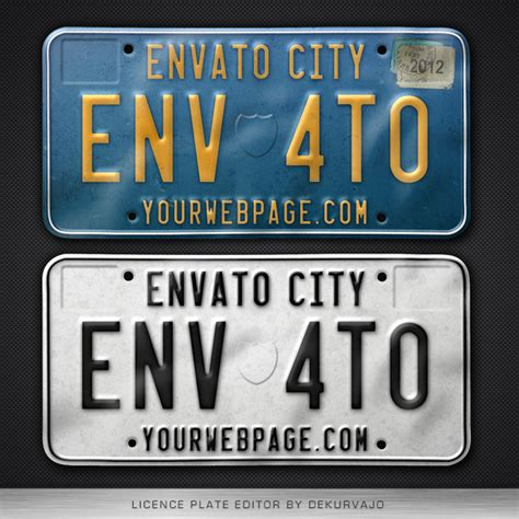license plate editor by dekurvajo graphicriver