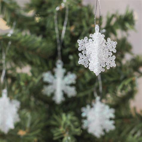 miniature dimensional glitter snowflake ornaments
