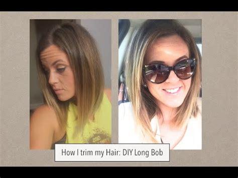 how to cut hair into a bob style ponytail method how i cut my hair long bob trim youtube