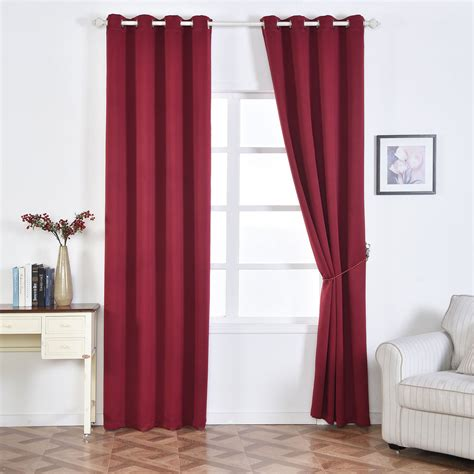room blackout curtains 2 pack burgundy thermal insulated blackout room darkening window treatment home curtain panel