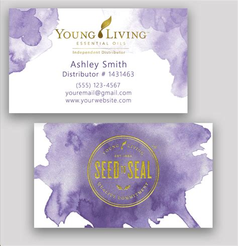 Young Living Business Card Essential Oil Watercolor Gold Living Business Card Template