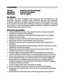 Operation Supervisor Description by Sle Warehouse Manager Description 10 Exles In Pdf Word