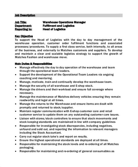 warehouse operative description template sle warehouse manager description 10 exles in