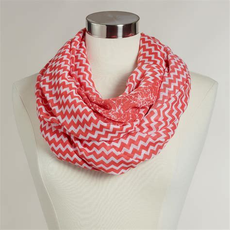 and white chevron infinity scarf wide coral and white chevron infinity scarf world