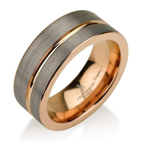 Two Metal Wedding Rings by Black Gunmetal Tungsten Ring Gold Wedding Band Ring