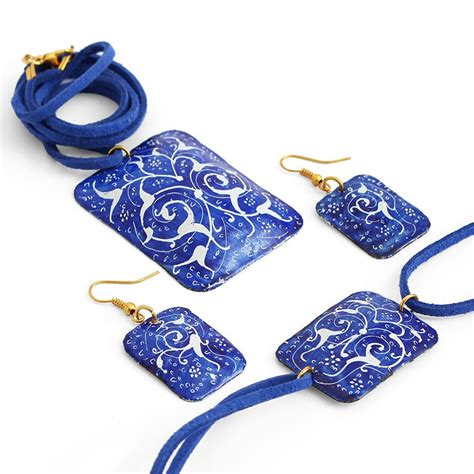 how to make enamel jewelry blue enamel jewelry set with necklace bracelet and