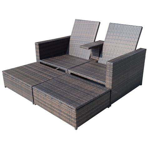 Wicker Patio Lounge Chairs Outsunny 3pc Pe Rattan Wicker Patio Loveseat Lounger