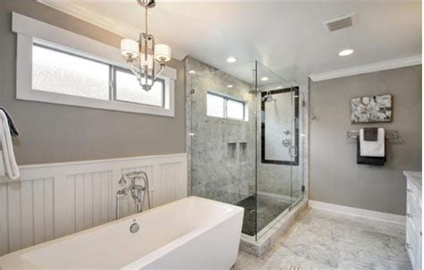 stand up bathtubs carrara marble shower with inlay wainscoting modern