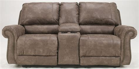 Dual Reclining Sofa With Console Oberson Gunsmoke Reclining Loveseat With Console 7410094 Furniture