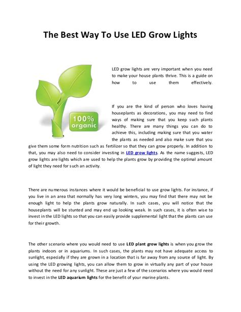 how to use grow lights led grow lights the best way to use it
