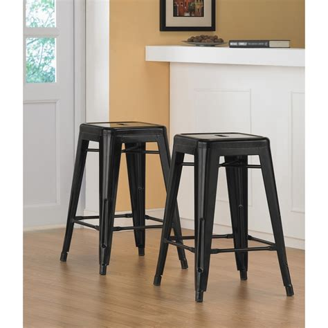 24 Inch Black Stools by Tabouret 24 Inch Black Metal Counter Stools Set Of 2