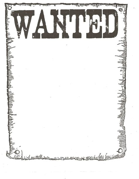 6 best images of printable wanted poster template blank