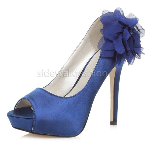 womens high heel platform peeptoe flower wedding