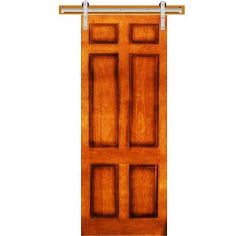 Pine Sliding Closet Doors Steves Sons 32 In X 90 In 6 Panel Stained Pine Interior Door Slab With Sliding Door Hardware