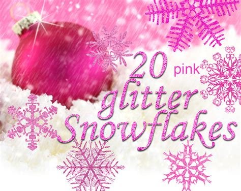 digital 20 pink glitter snowflakes 20 snowflakes clipart