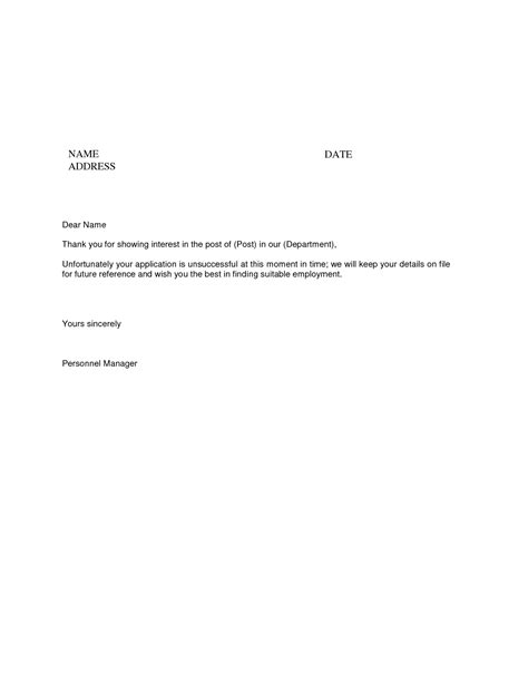 thank you letter after rejection employer sle rejection letter from employer to applicant