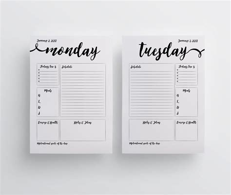 printable daily planner pages 2017 a5 2017 printable planner pages a5 planner minimal by planbig