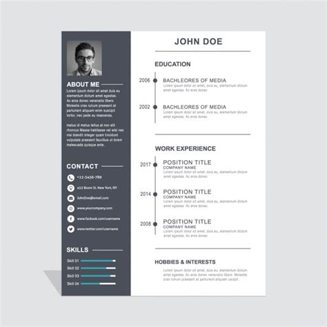 Cv Template Vectors Photos And Psd Files Free Download Template Resume Gratis