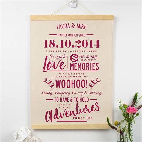 Wedding Anniversary Gifts Cotton by Personalised Cotton Anniversary Print By Delightful Living