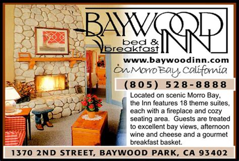 morro bay bed and breakfast baywood inn bed and breakfast