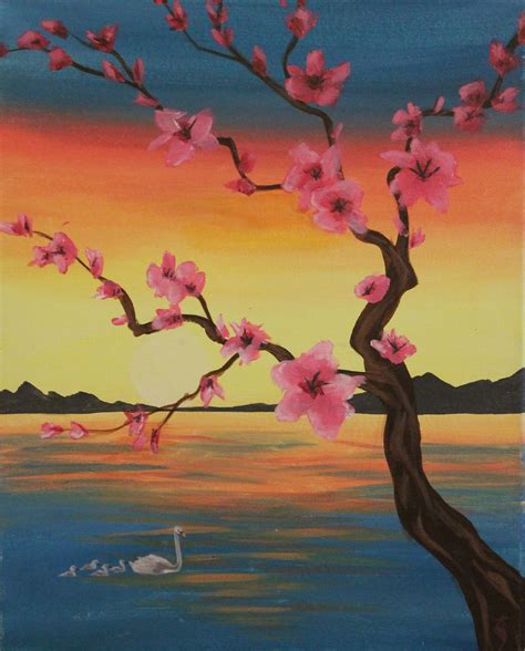paint nite japanese cherry blossoms paint nite in largo at quench lounge quench lounge