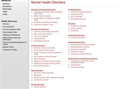 Merck Home Health Handbook Mental Health Resources